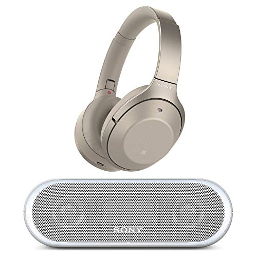 Sony Noise Cancelling Headphones WH1000XM2: Over Ear Wireless Bluetooth Headphones with Case - Gold with Portable Wireless Speaker with Bluetooth and NFC