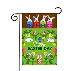 """Feliz bandera de Jardín bandera, 12,5x 18""""Conejo de Pascua y huevos de Pascua para colgar decoración para hogar y jardín"""