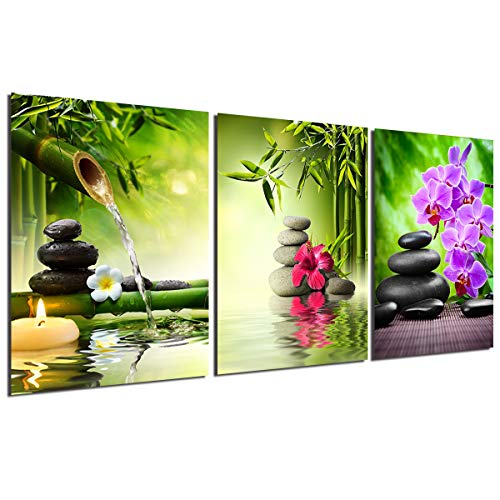 Zen Painting Wall Art Decor - Canvas Painting Modern Stone Spa Poster Home Office Kitchen Decoration Unframed Green Bamboo leaf Candles Purple Orchid Hibiscus Giclee Print 3 Panels Picture Artwork (Massage Canvas Picture)