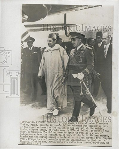 1956 Press Photo Sultan Mohammed Ben Youssef Generalissimo Francisco - Mohammed Sultan