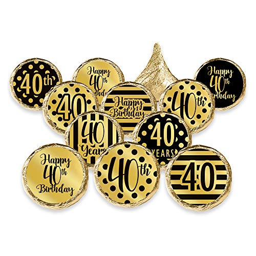 (Gold 40th Birthday Metallic Foil Party Favor Stickers, 324 Count)