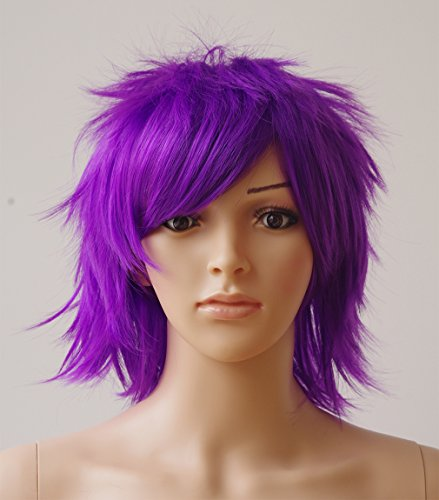 [Anime Cosplay Synthetic Full Wig with Bangs 20 Styles Short Layered Fluffy Hair Oblique Fringe Full Head Unisex +Stretchable Elastic Wig Net for Man and Women Girls Lady Fashion] (Purple Wig Costumes)