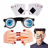 TUANTUAN 3 Pcs Novelty Glasses Poker Finger Eyeglasses Eyeball-dropping Sunglasses for Summer Fancy Dress Halloween Party Costume Photo Props
