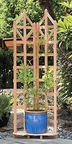 Arboria Deco Garden Trellis Cedar Wood 70 Inch Height Freestanding with Integrated Base for Pots by Arboria