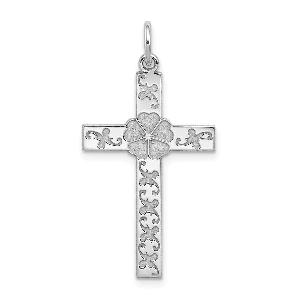 Sterling Silver Rhodium-plated Laser Designed Cross Pendant Sterling Silver