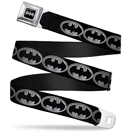 Batman Black/Silver Seatbelt Belt - Batman Shield Black/Silver Webbing -