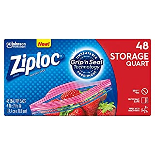 Ziploc Storage Bags with New Grip 'n Seal Technology, For Food, Sandwich, Organization and More, Smart Zipper Plus Seal, Quart, 48 Count