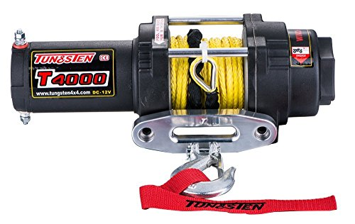 (Tungsten4x4 T4000S 1.6 HP ATV/UTV Electric Winch 4000 lbs Capacity Waterproof IP67 with Synthetic Rope and Hawse Fairlead)