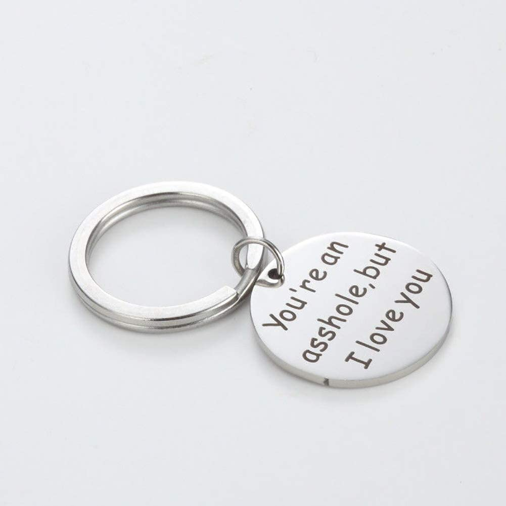 Infgreate Steel Valentines Day PresentEnglish Letter Youre an Asshole But I Love You Keychain Keyring Valentines Gift