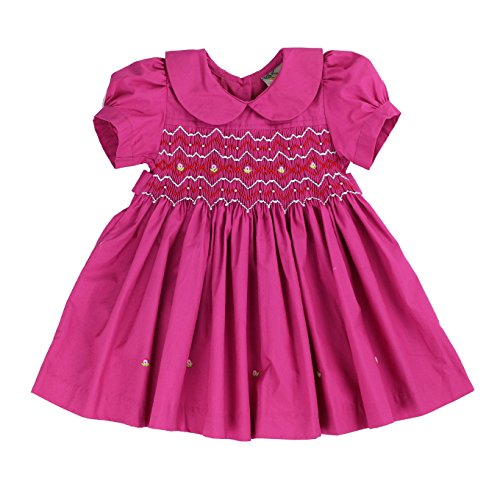sissymini - Infant and Toddlers Soft Cotton Fabric Hand Smocked Dress | Felicity Farrow's Frock in Fabulous Fuchsia 2T