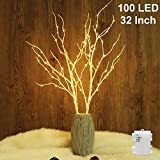 lighted tree branches Twinkle Star 100 LED Lighted White Birch Branches 2 Pack Artificial Branches Waterproof Battery Operated with Timer for Indoor Outdoor Christmas Wedding Party Home Decoration (Vase Excluded)