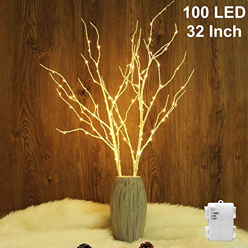 Twinkle Star 100 LED Lighted White Birch Branches 2 Pack Artificial Branches Waterproof Battery Operated with Timer for Indoor Outdoor Christmas Wedding Party Home Decoration (Vase Excluded)