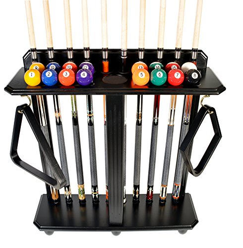 - Cue Rack Only - 10 Pool - Billiard Stick & Ball Set Floor - Stand Black Finish (Black)