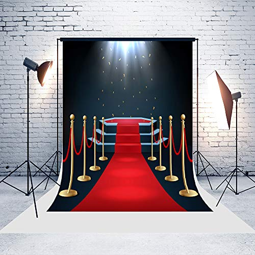5ft(W) x7ft(H) Awards Ceremony Backgrounds Black Spotlights Red Carpet Baby Shower Wedding Birthday Party Decorations Microfiber Photo Backdrop Studio Props]()