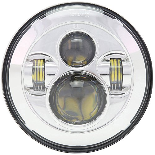 DOT 7 inch Motorcycle LED Headlight for Harley Davidson Electra Glide Street Glide Fat Boy Road King Heritage Softail Switchback Headlamp ()