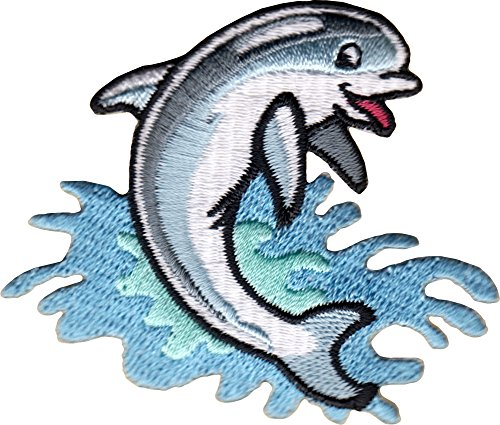 Dolphin - Blue Jumping In Waves- Embroidered Sew or Iron on ()