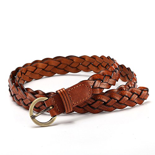 MoYoTo® Women's Fashion Thin Braided Leather Belt For Dress with Buckle 20mm (Brown) (Belt Women Braided Brown)