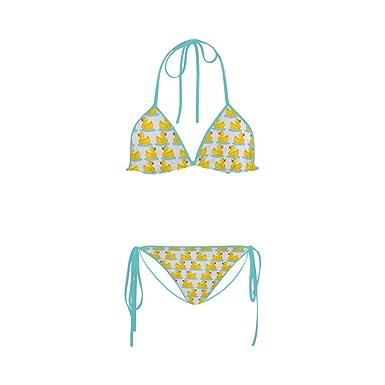 201e07a01c Image Unavailable. Image not available for. Color: Women Kawaii Cute Rubber  Ducky Cut Out Sun Beach Swim Nylon & Spandex Bikini Suit