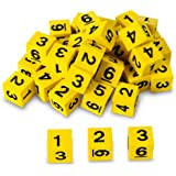 """Nasco TB18747T Number Dice Set, 5/8"""" Square, Foam, 36-Piece, Yellow with Black, Grades K+"""