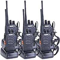 Baofeng BF-888S Walkie Talkies Long Range Two Way Radio 16 Channels Rechargeable 2 Way Radio Built In Flashlight With Earpiece (Black,Pack of 6)