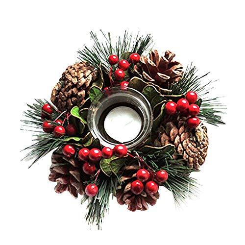 Gifftiy Portavelas De Ofrenda Candelabro De Navidad Pina con Pina Bosque Geologico Rustico Centro De Mesa De Decoracion Navidena Corona De Navidad con Cuatro Velas