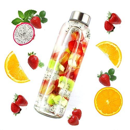 Yttx Verre Borosilicate Bouteille d'eau 550ml Sports bouteilles en verre de l'eau potable pour boissons chaudes et froides, lait, jus, thé glacé, limonade et boissons Sparkling