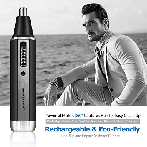 Sportsman Nose Hair Trimmer, Professional Ear Hair Trimmer/Beard Trimmer/Sideburns Trimmer/Eyebrow Trimmer 4 in 1 Rechargeable Stainless Steel Waterproof Blade Personal Trimmer Kit for Men and Women