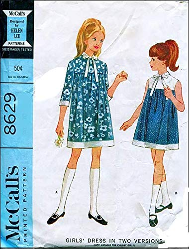 McCall's 8629 Girl's Mod Tent Dress with Yoke by Helen Lee Vintage 60's Sewing Pattern Check Listings for Size