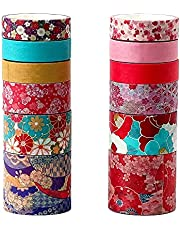 Molshine Set of 12 Rolls Washi Masking Tape,Adhesive Crafts Tape for DIY,Planners,Bullet Journal Decorative,Gift Wrapping,Scrapbook,Office,Party Supplies,Collection-
