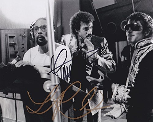 Quincy Jones & Lionel Richie (with Michael Jackson) We Are The World signed 8x10 photo