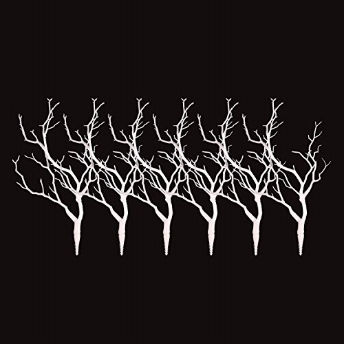 Sigdio Artificial Plastic Stems Bohemian Twigs Dried Tree Branches for Wedding Party Home Hotel Decoration (White, 6) (Tree Decorations Wedding)