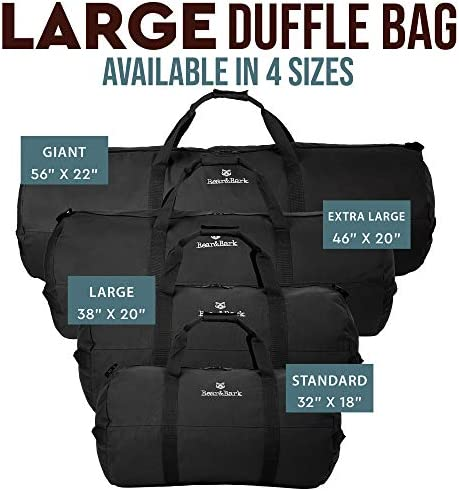 "Medium Duffle Bag – Black 32""x18"" - 133.4L - Canvas Military and Army Cargo Style Duffel Tote for Men and Women– Gym, Hiking and Storage Shoulder Bag"