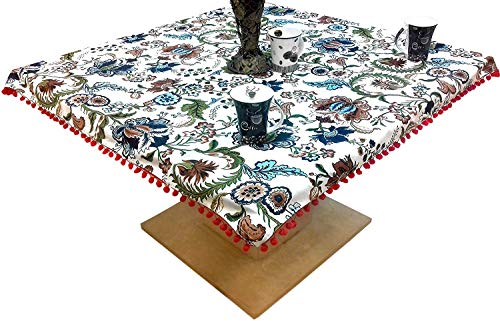 Miyanbazaz Textiles 100% Cotton Floral Print Tea/Coffee Table Cover with Red Color POM-POM Lace Border Multi Color Price & Reviews