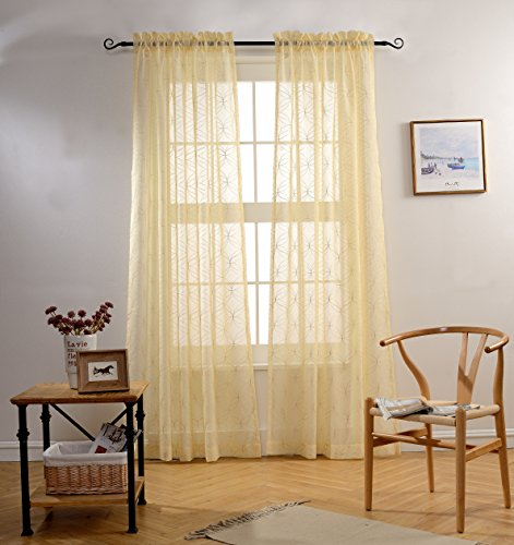 MYSKY HOME Rod Pocket Window Embroidery Voile Embroidered Sheer Curtain Panel for Office Room, Beige, 52 x 84 inch (1 Panel)