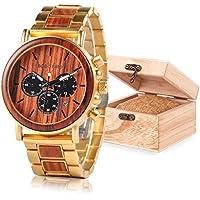 Mens Wooden Watches Golden Stainless Steel&Wooden Watch Band Analog Quartz Wrist Wood Watch