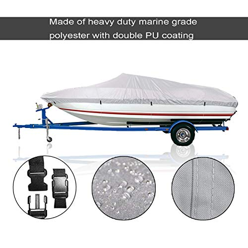 300D Boat Cover V-Hull Cover Outdoor Waterproof Heavy Duty Special Cover,Fishing Boat Runabout Full Size Boat Cover by Blue Sky the Color of Imagination