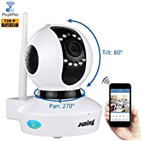 IP Camera Home Wifi Wireless Security Cameras 720P HD Pan Tilt-JUNING C7823 (Day/Night Vision,baby monitor,2 Way Audio,SD Card Slot, Alarm)