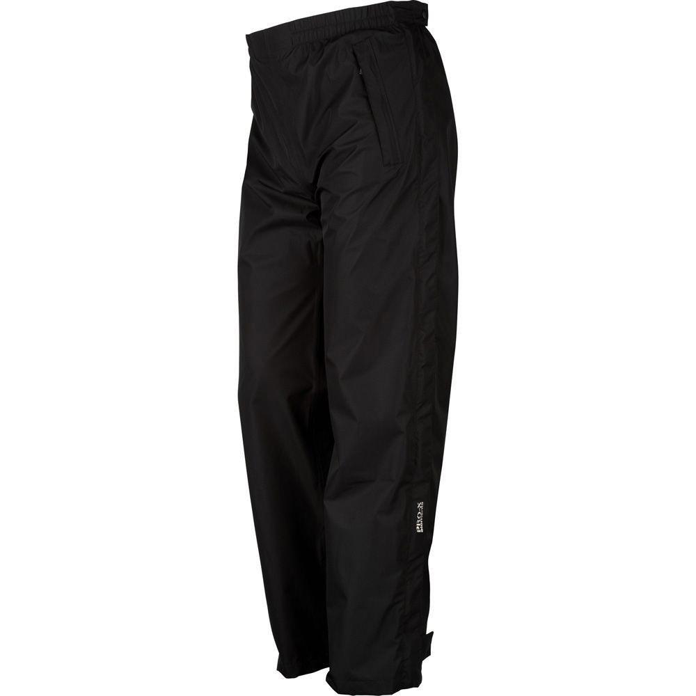 Pro-X Logan Damen Regenhose Seitlicher Reißverschluss, Schwarz, 22