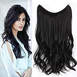 """AISI BEAUTY 20""""Synthetic Hidden Hair Extensions for Women Invisible Wire No Clips in Hair Extensions Curly Fish Line Hair Extension Wavy Black High Temperature Fiber Hair (1#)"""