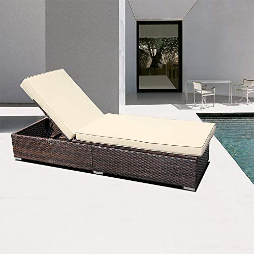 DIMAR garden Outdoor Rattan Patio Folding Chairs Bed Conversation Set Chaise Lounge Furniture Upholstered Wicker Lawn Garden Pool Beach Courtyard Adjustable Deck Chair Weather Sofa Daybed Mix Brown