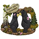 "Pine Ridge Couple Black Bear With White Stone Inscribed ""Always Kiss me Goodnight"" Home Decor Figurines – Wildlife Country Kissing Bear Lodge Decorations"