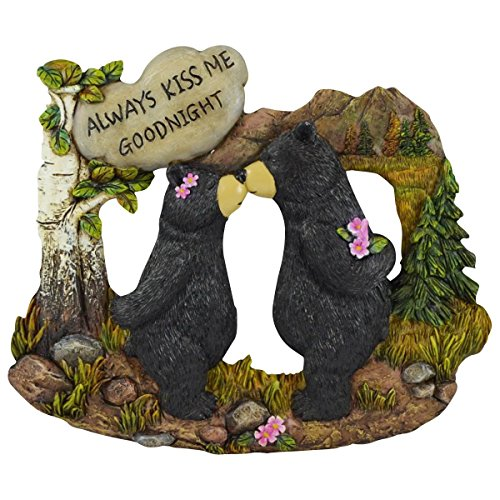 Pine Ridge Couple Black Bear with White Stone Inscribed Always Kiss me Goodnight Home Decor Figurines - Wildlife Country Kissing Bear Lodge Decorations -