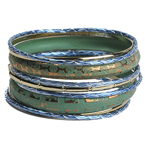 (Muse Bangle Bracelet Set of 7 Aqua, Blue and Goldtone)