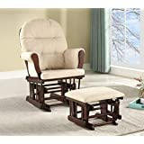 Lennox Furniture Emily Glider Chair and Ottoman Combo, Espresso/Beige