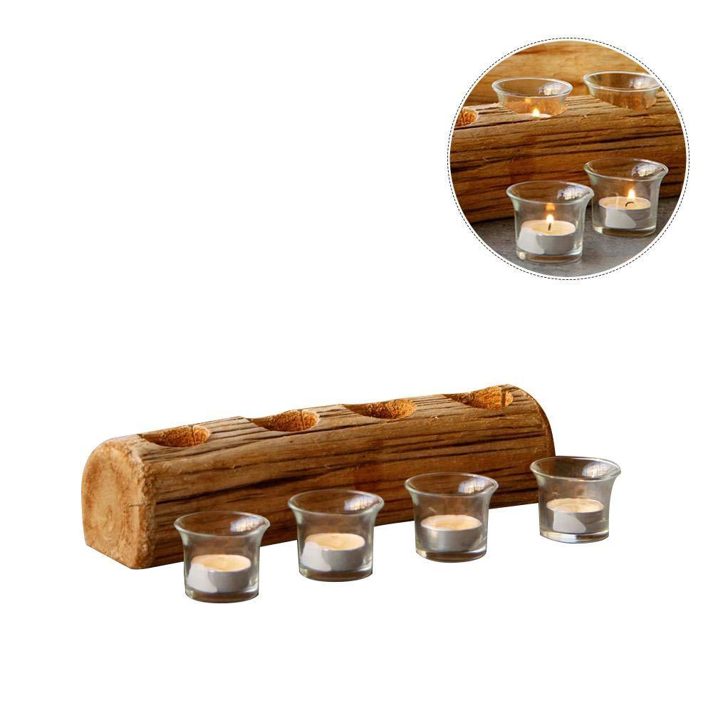 KathShop Innovative Four-Hole Wooden Candle Holder Christmas Candle Holder Candlestick Desktop Decoration with Glass Liner