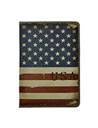 ZLYC Vintage Novelty PU Leather Travel Wallet Passport Holder Case Waterproof Cover, US Flag