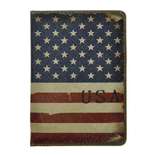 ZLYC Vintage Novelty PU Leather Travel Wallet Passport Holder Case Waterproof Cover, US National Flag