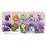 Flowers flora mint stamp sheet for collectors - 10 stamps issued in 2012 / michel no : 591 / 600 / mint
