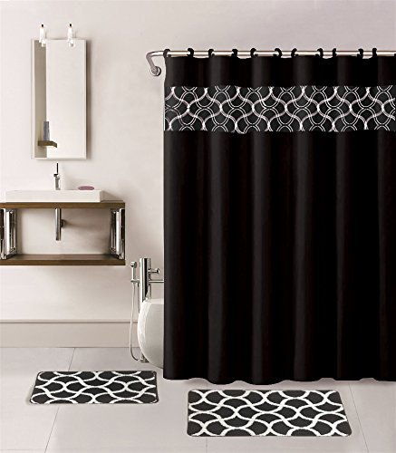 Gorgeous Home 15PC BLACK GEOMETRIC DESIGN BATHROOM BATH MATS SET RUG CARPET SHOWER  CURTAIN HOOKS NON SLIP