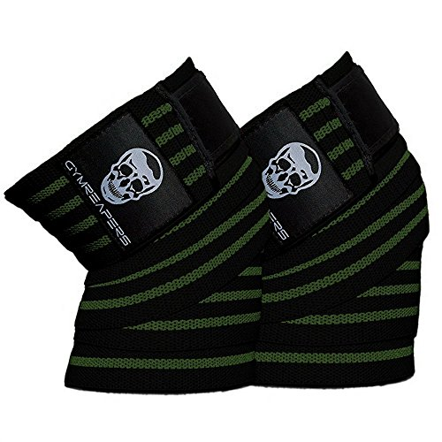 Wrap Military (Gymreapers Knee Wraps (Pair) With Strap for Squats, Weightlifting, Powerlifting, Leg Press, and Cross Training - Flexible 72